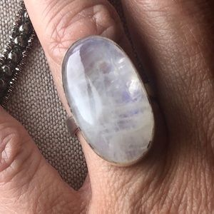 MOONSTONE RING OVAL STERLING SILVER